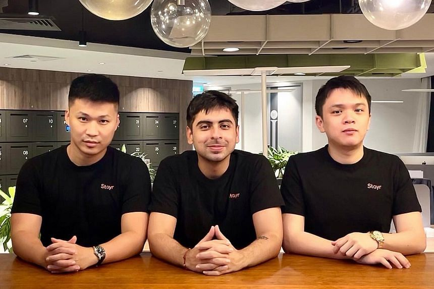 Stayr co-founders (above, from left) Toby Cai, Yoeven Khemlani and Xavier Wong. Their platform lets users book short daytime stays in hotels, workspaces and even yachts.