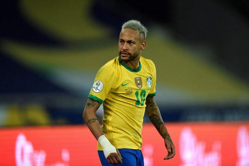 Brazil's Neymar gestures at their semi-final match against Peru at the Nilton Santos Stadium in Rio de Janeiro, on July 5, 2021.