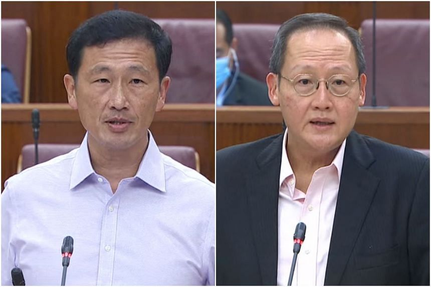 Health Minister Ong Ye Kung (left) and Manpower Minister Tan See Leng delivered ministerial statements in Parliament on Singapore's free trade agreements on July 6, 2021.