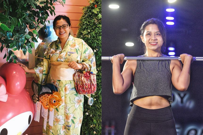 Ms Jenna Goh before and after her weight loss. When the circuit breaker period was announced last year, she saw it as an opportunity to get in shape.