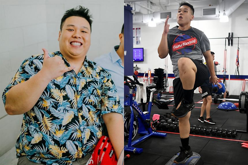 Mr Bryan Lim before and after his weight loss, which he achieved by working out regularly and following a clean diet.