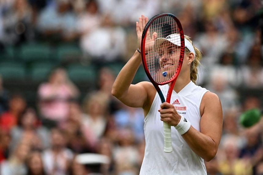 Germany's Angelique Kerber celebrates her victory over Czech Republic's Karolina Muchova.