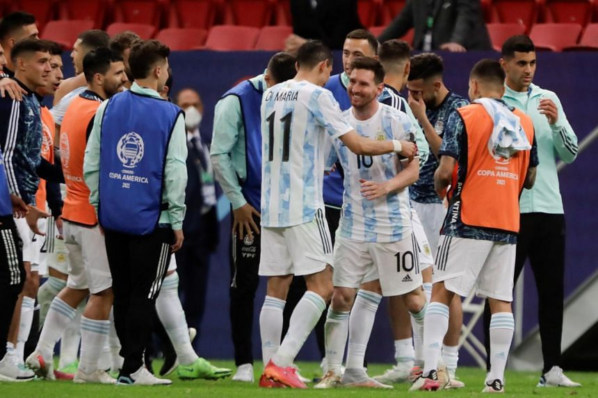 Argentina players celebrating after defeating Colombia at the Copa America semifinal in Brasilia, Brazil, on July 6, 2021.