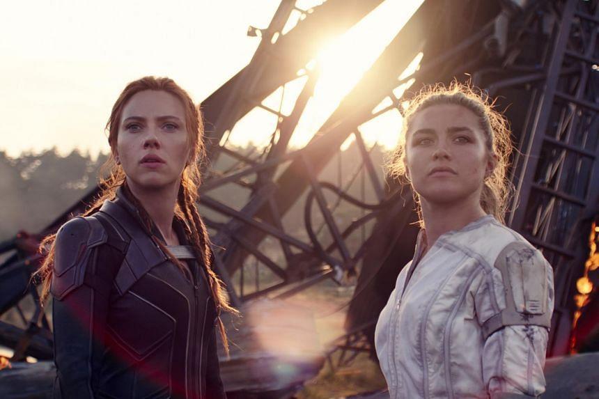 A still from Black Widow featuring Scarlett Johansson (left) and Florence Pugh.