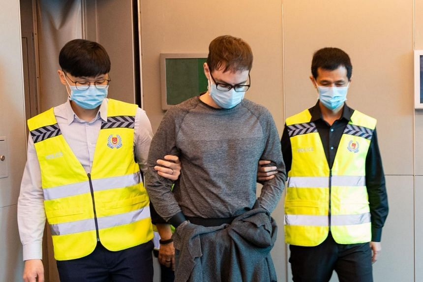Canadian David James Roach arriving in Singapore on March 17 last year, after his extradition from Britain.