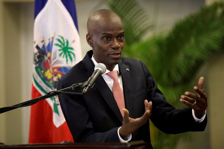 In this photo taken on March 2, 2020, Haiti's President Jovenel Moise speaks during a news conference at the National Palace in Port-au-Prince.