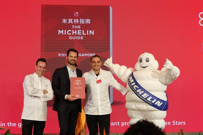 Mr Gwendal Poullennec (centre), international director of the Michelin Guides, presenting awards at a ceremony in Capella Singapore hotel on Sept 17, 2019.