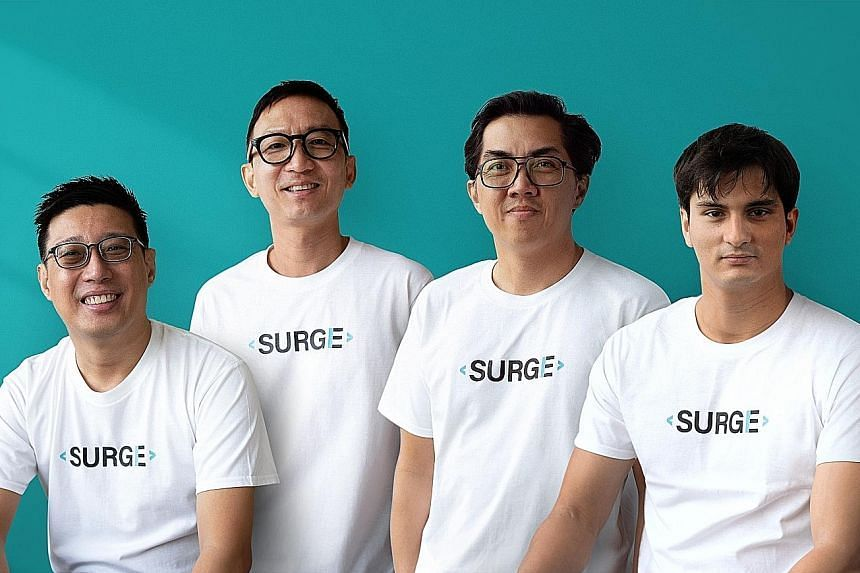 (From left) Surge CEO Wilson Tan, Germs Digital CEO James Chua, Flock Creative Network CEO Ivan Hadywibowo and Mr Jeffrey Nijstad, who is also CEO of Surge.