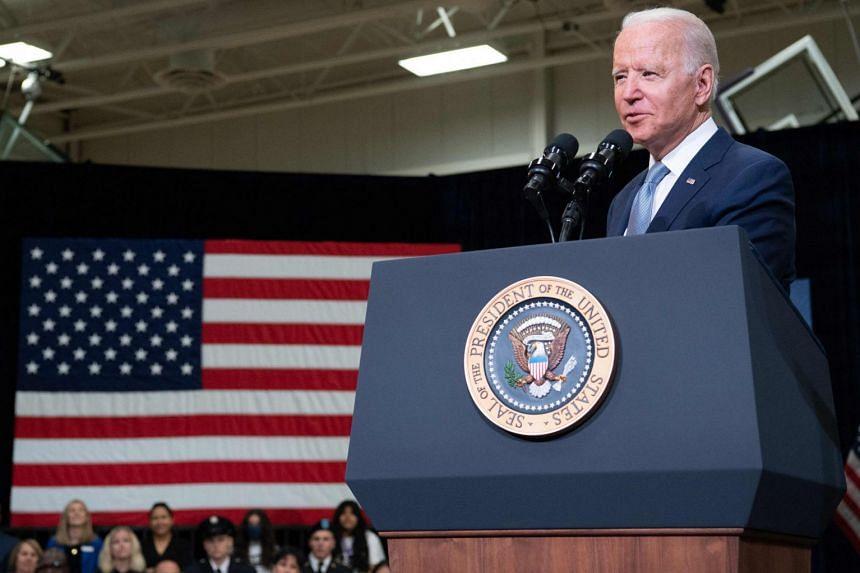 US President Joe Biden speaks about his Build Back Better economic plans in Crystal Lake, Illinois.