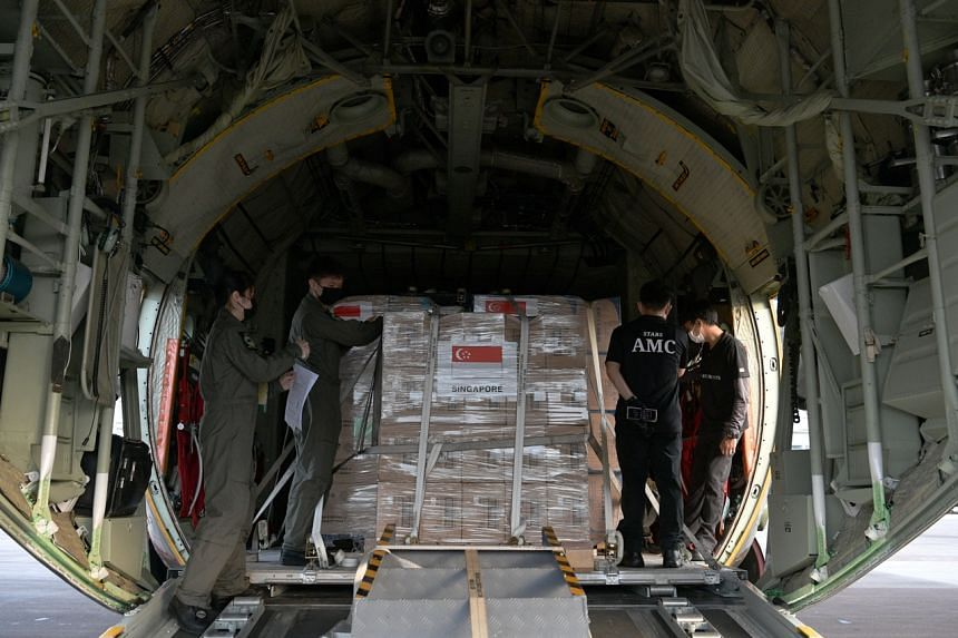 The Republic of Singapore Air Force is transporting the supplies and equipment on board two C-130 planes from Singapore to Jakarta, Indonesia.