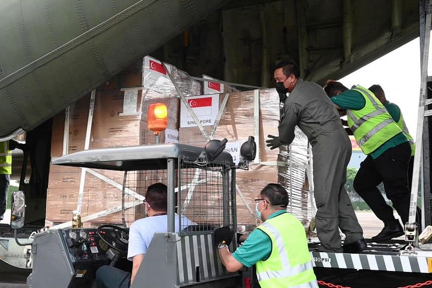 The Republic of Singapore Air Force is transporting the supplies and equipment on board two C-130 planes from Singapore to Jakarta.
