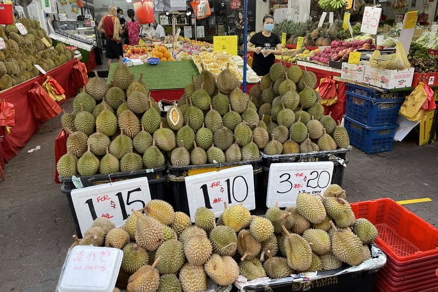 With the ongoing durian season, cheap varieties of the fruit can be had, such as at Champion Fruit Trading.