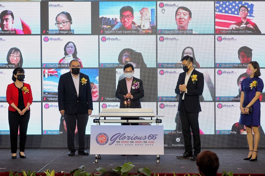 Deputy Prime Minister Heng Swee Keat (centre) at Dunman High School's 65th anniversary celebration on July 9, 2021.