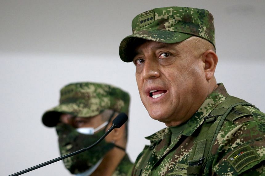 Commander of the Colombian Military Forces, General Luis Fernando Navarro, speaks during a news conference about the participation of several Colombians in the assassination of Haitian President Jovenel Moise.