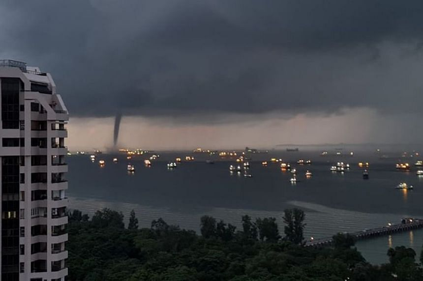 Ms Carrie Koh, a reader of The Straits Times, said that she saw the waterspout from her apartment in Bedok at around 7am.