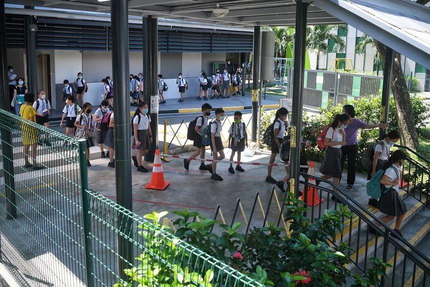 Alexandra Primary School pupils leaving school on June 28, 2021.