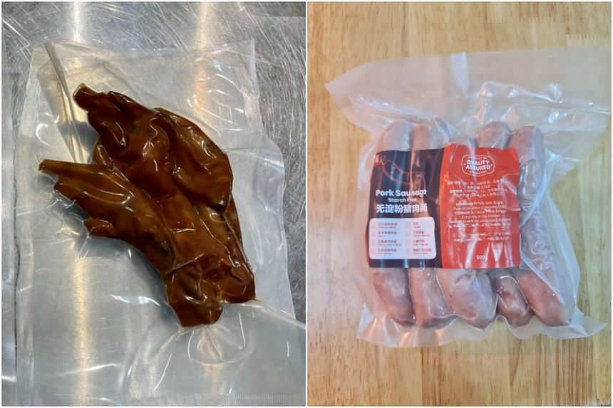 The pre-packed food products included chicken feet and pork sausage.