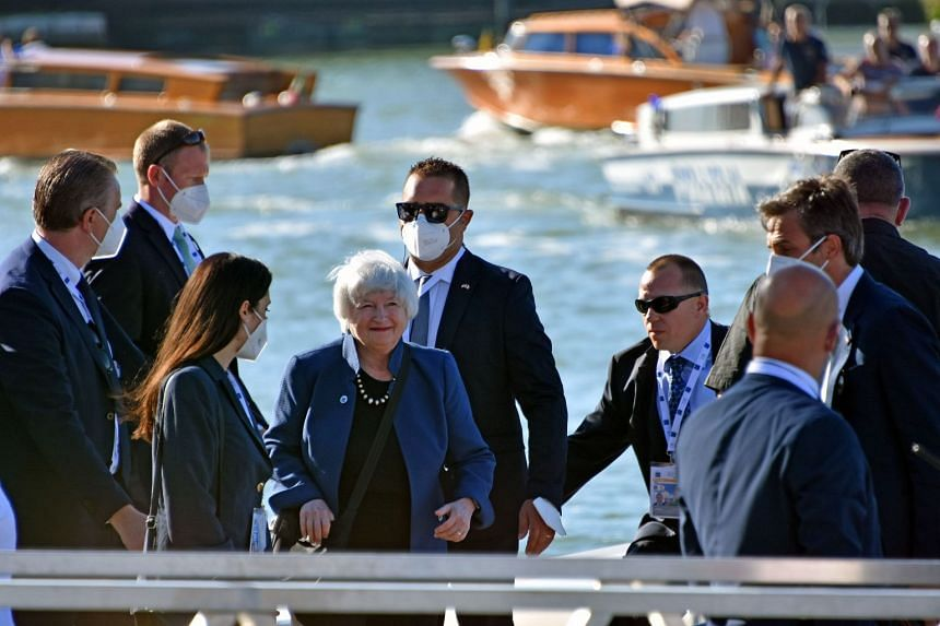 US Treasury Secretary Janet Yellen (centre) arrives at the Arsenale for the G-20 Finance Ministers and Central Bank Governors Meeting in Venice, Italy.