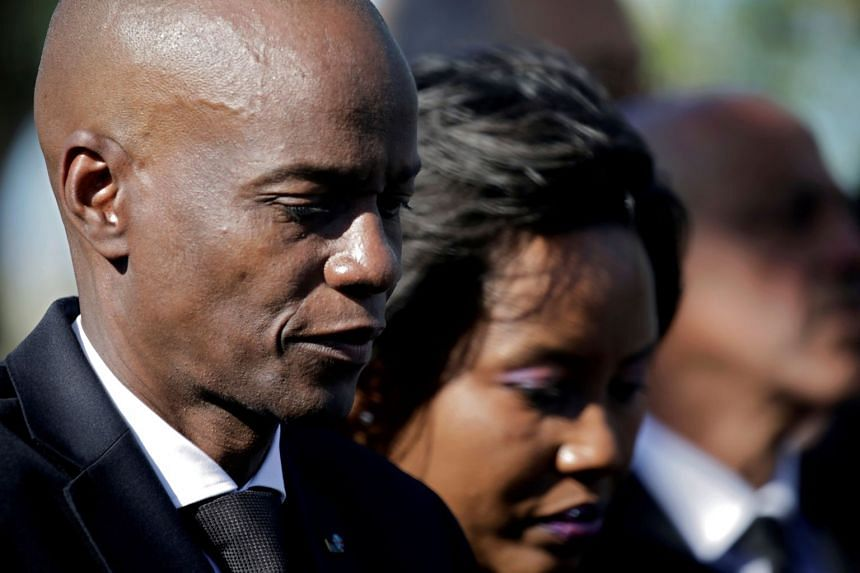 A 2020 photo shows Haiti President Jovenel Moise and First Lady Martine Moise at an earthquake memorial ceremony in Haiti.
