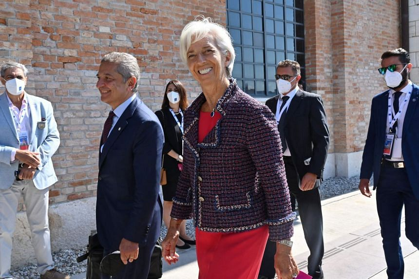 European Central Bank president Christine Lagarde arrives for the G-20 finance ministers and central bankers meeting in Venice on July 9, 2021.