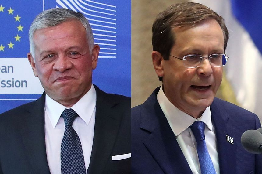 Jordan's King Abdullah II (left) received a telephone call from Israel's new President Isaac Herzog (right).