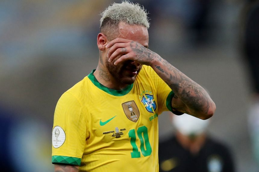 Brazil's Neymar after the loss to Argentina during the Copa America final in Rio de Janeiro on July 10, 2021.