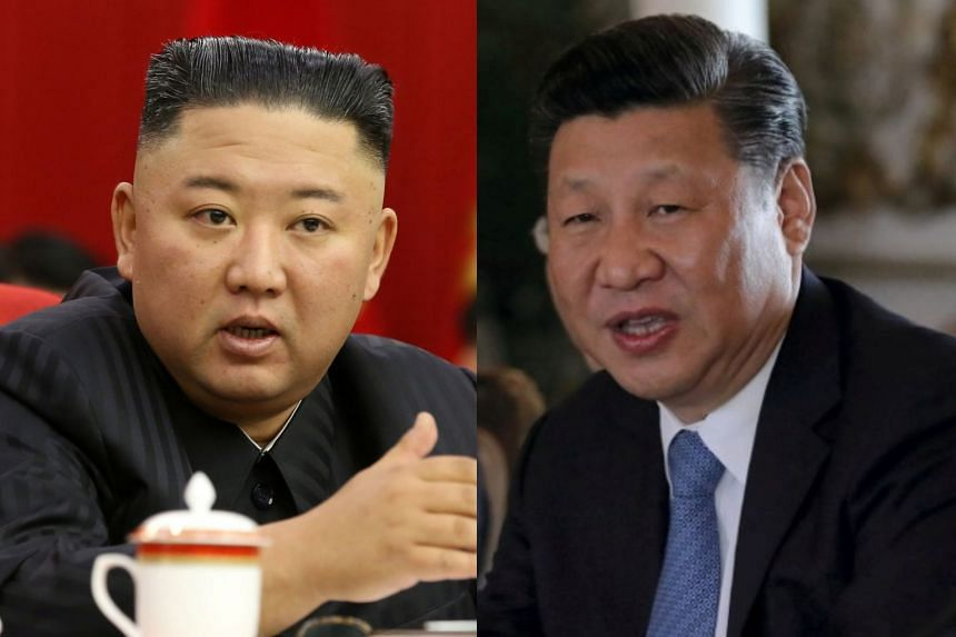"""North Korean leader Kim Jong Un (left) said cooperation is vital in the face of hostile foreign forces, while China's Xi Jinping (right) promised to bring cooperation """"to a new stage"""","""