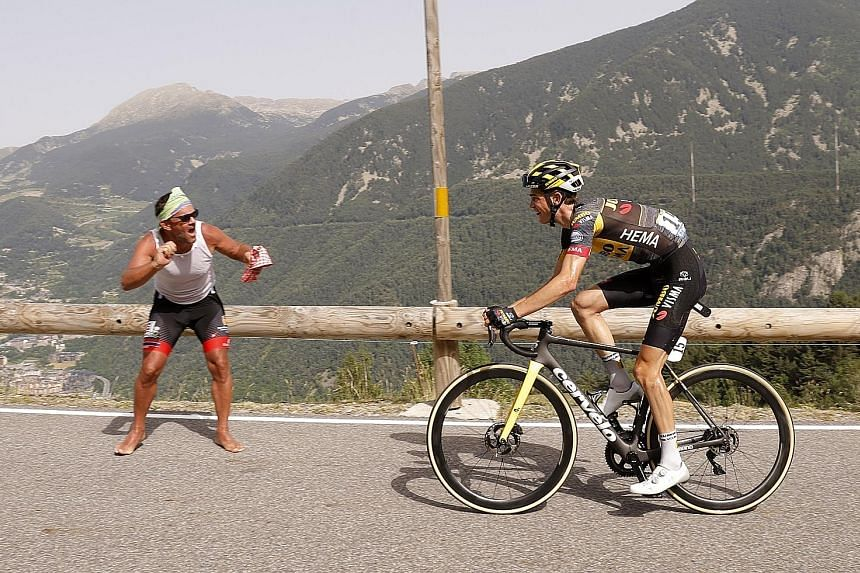 Jumbo-Visma rider Sepp Kuss en route to clinching his first Tour de France stage win yesterday, a 191.3km mountain trek from Ceret to Andorra.