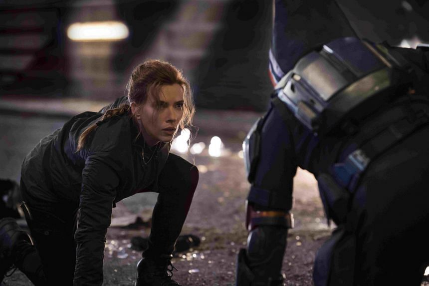 Actress Scarlett Johansson stars as the cat-suited superspy in Black Widow.