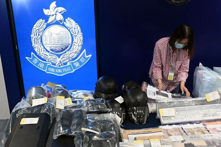 Seized items displayed at the Hong Kong police headquarters, after nine people were arrested on terror charges, on July 6, 2021.