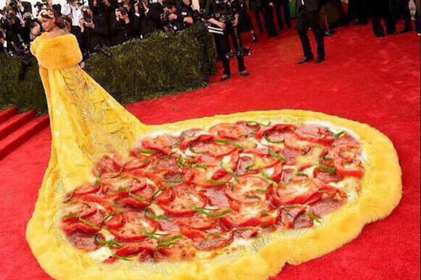 An edited photo of the yellow gown pop star Rihanna wore in 2015 at the New York Met Gala which incorporated a pizza image into the 3m-long train of the dress.