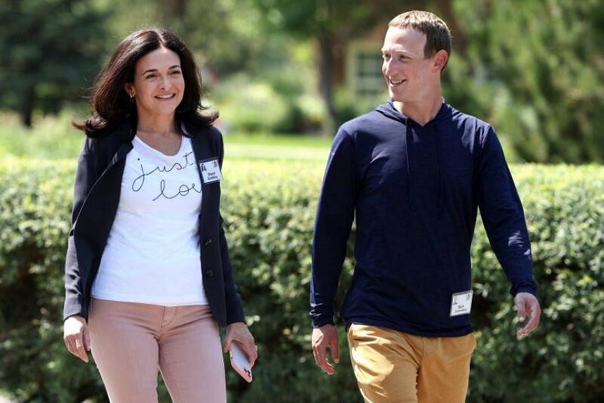 Facebook's chief executive Mark Zuckerberg and Ms Sheryl Sandberg at the Allen & Company Sun Valley Conference on July 8, 2021.