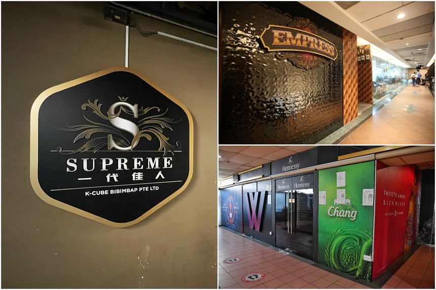 The three KTV lounges in the cluster, (clockwise from top left) Supreme KTV, Empress and Dolce.