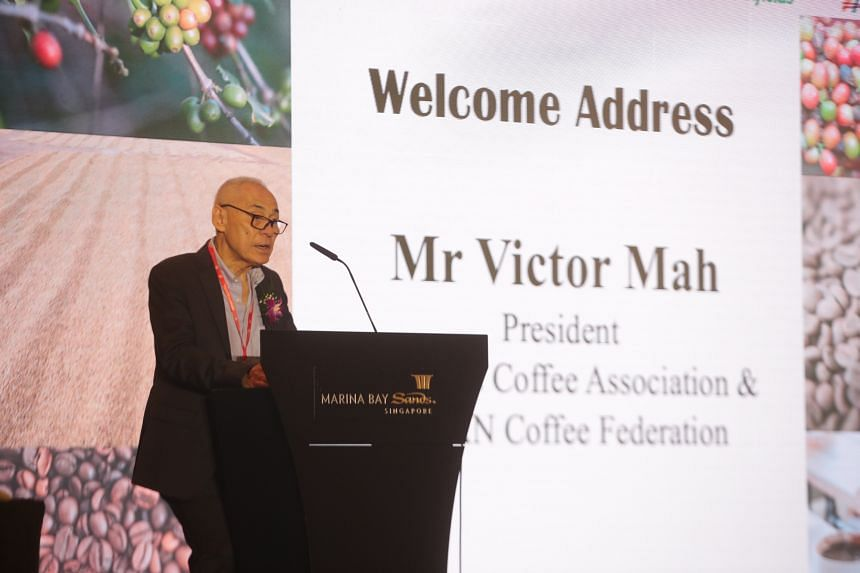 Singapore Coffee Association president Victor Mah speaking at the Singapore Speciality Coffee (Micro-Lot) Auction 2021.