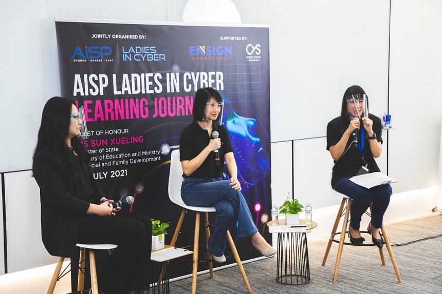 (From left) Dr Tan Mei Hui, Ms Sun Xueling and Ms Sherin Y. Lee at the AiSP Ladies in Cyber Dialogue Session, on July 13, 2021.