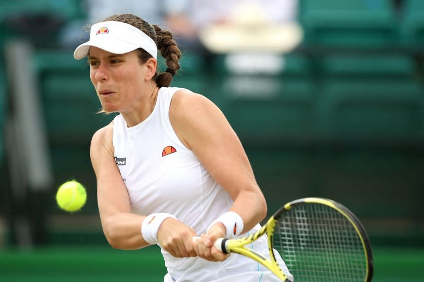 Britain's Johanna Konta in action during the Nottingham Open in June 2021.