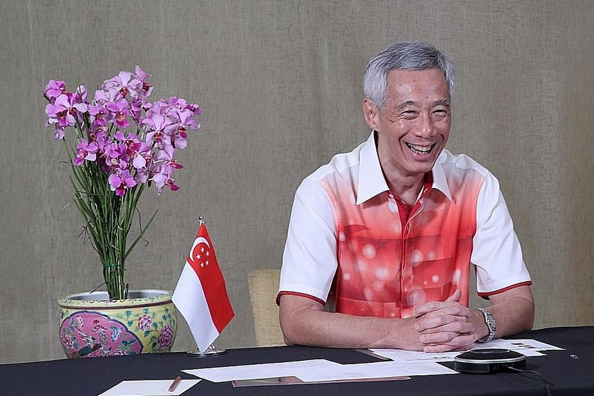 Prime Minister Lee Hsien Loong having a virtual chat with Singapore's national athletes who will be competing at the upcoming Tokyo 2020 Olympic and Paralympic Games. PHOTO: LEE HSIEN LOONG/FACEBOOK