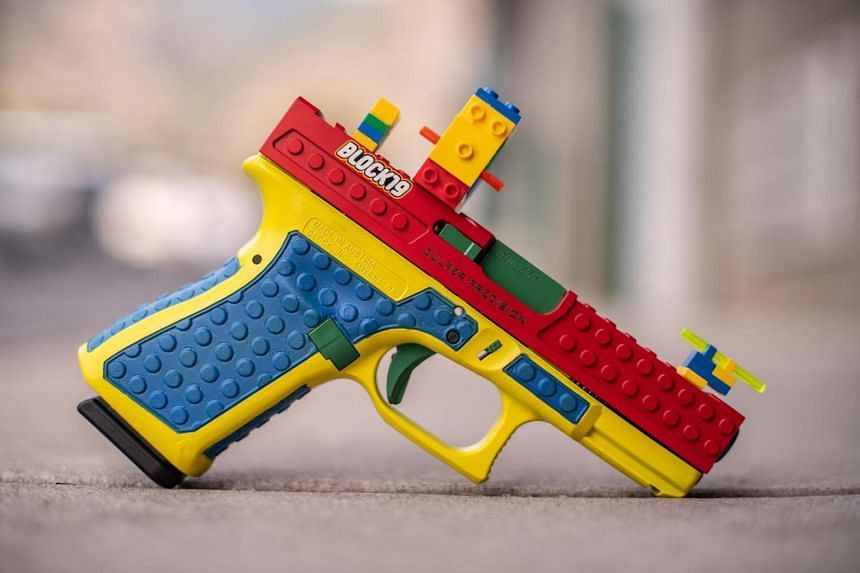 The colourful brick design gives the semi-automatic weapon made by Culper Precision a strong resemblance to a Lego toy.