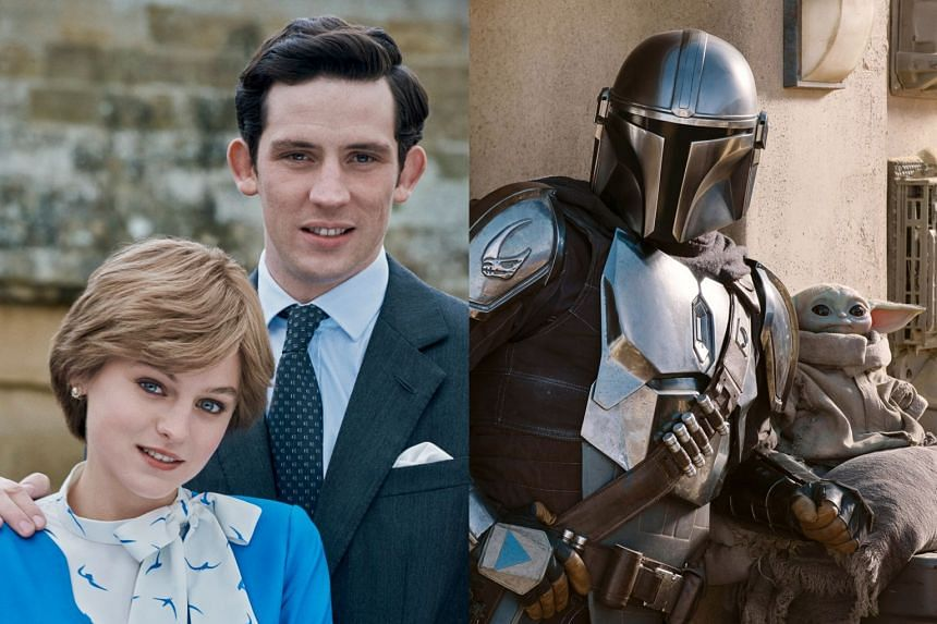 Emma Corrin and Josh O'Connor (left) in The Crown, and Pedro Pascal as The Mandalorian (right).