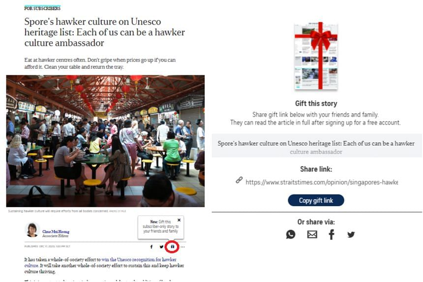 """A new """"Gift an article"""" feature allows The Straits Times subscribers to share content exclusive to them with as many people as they wish."""