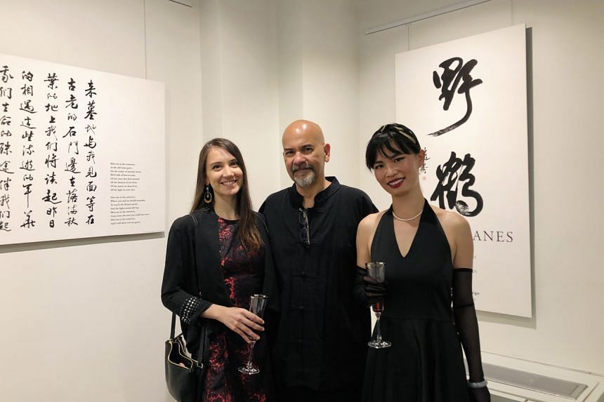 (From left) Ms Tanya Ghosh, Mr Nirmal Ghosh and Ms Liuyu Ivy Chen at the Chinese American Museum's Wild Cranes exhibition in Washington DC.