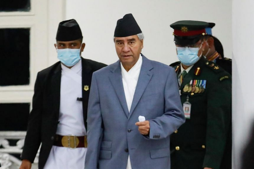 Newly appointed Prime Minister Sher Bahadur Deuba after formally assuming office at Singha Durbar office complex in Kathmandu on July 13, 2021.