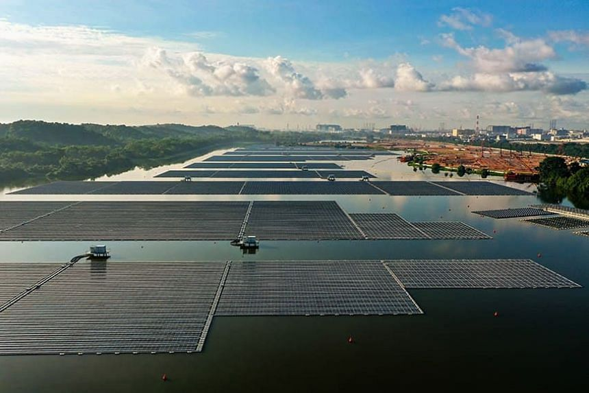 Aerial footage of Sembcorp Tengeh Floating Solar Farm on June 20, 2021.