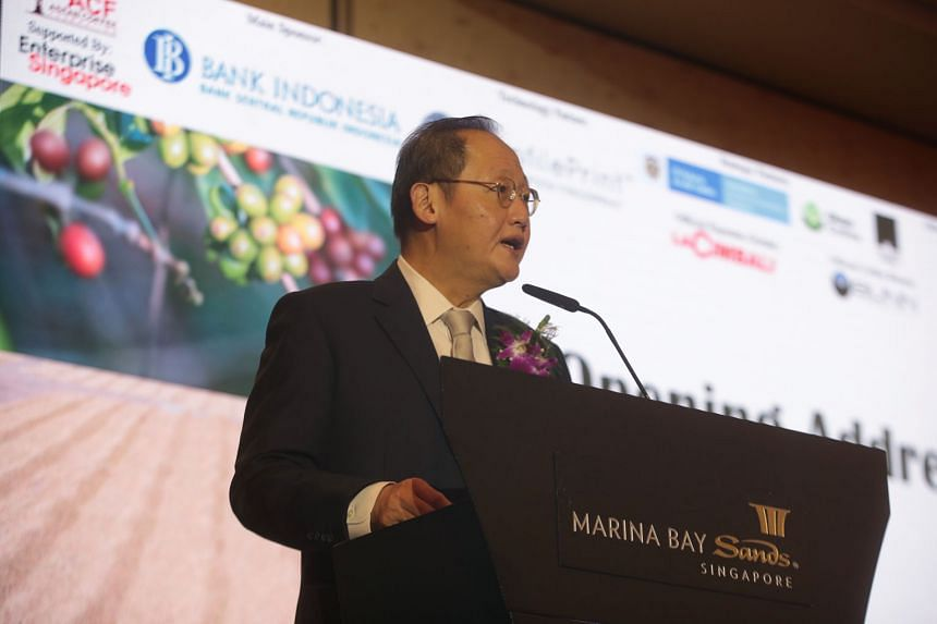 Dr Tan See Leng, Minister for Manpower and Second Minister for Trade and Industry, speaking at the Singapore Speciality Coffee Auction yesterday.