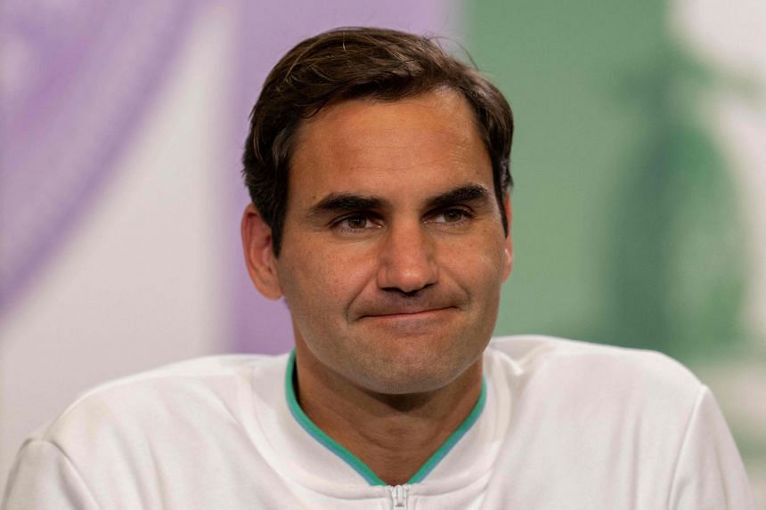 Federer attends a press conference after his shock loss to Poland's Hubert Hurkacz at Wimbledon on July 7, 2021.