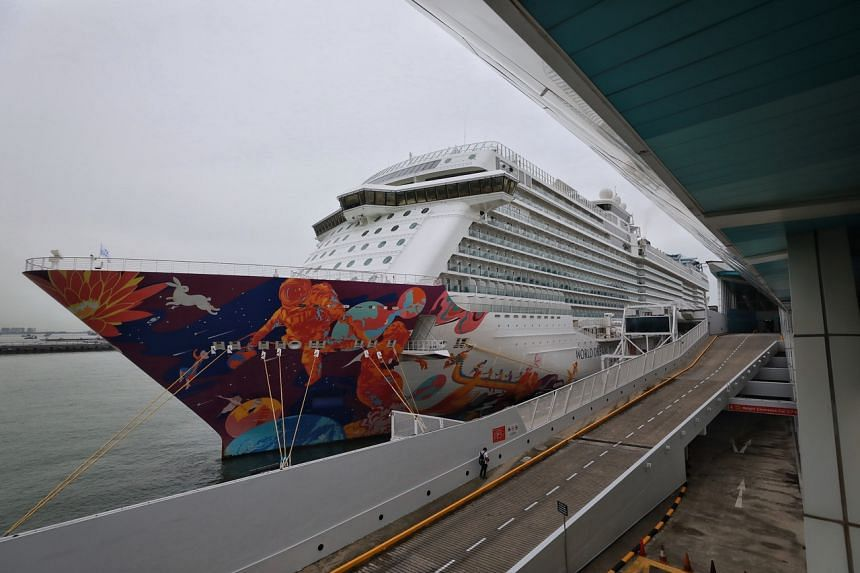 Dream Cruises' World Dream docked at Marina Bay Cruise Centre on July 14, 2021.