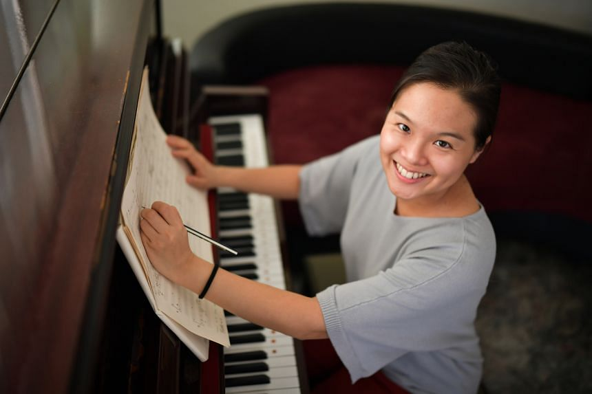 Chua Jon Lin does most of her composing in her Housing Board flat in Bedok, where she lives with her husband and son.