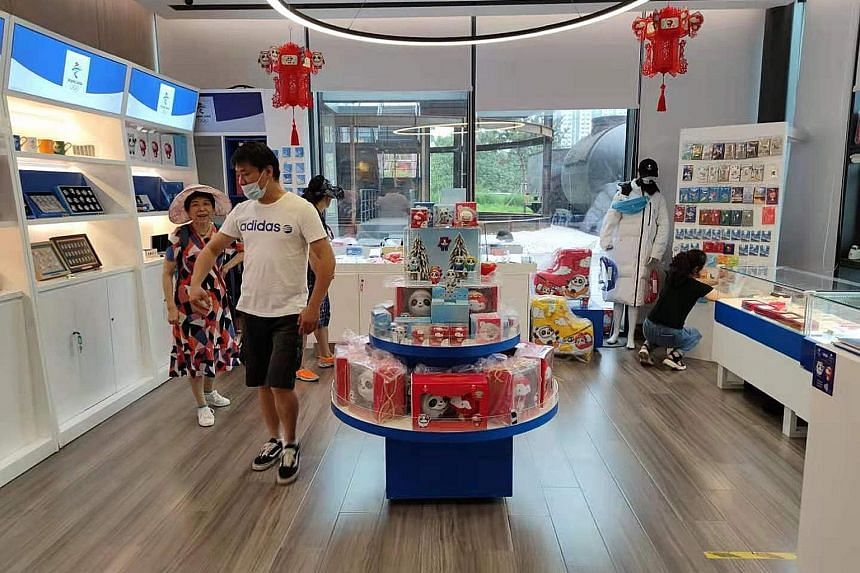 A shop in Shougang selling Winter Olympics merchandise. Shops selling soft toys of the Games' mascots, stationery and souvenirs have also been set up in popular tourist areas elsewhere in Beijing. Shougang, a former industrial park in the once-pollut