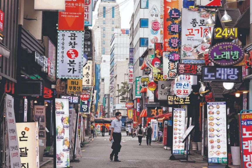 A street in Seoul on July 12, 2021. Clubs and bars in Seoul were shut a few days after a cluster emerged last year.