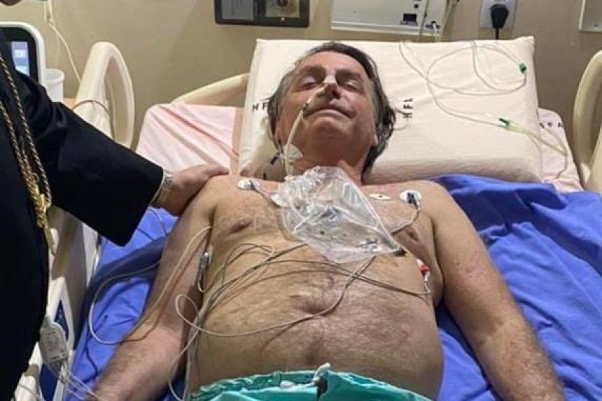 Brazilian President Jair Bolsonaro later tweeted a photo of himself in hospital (above).